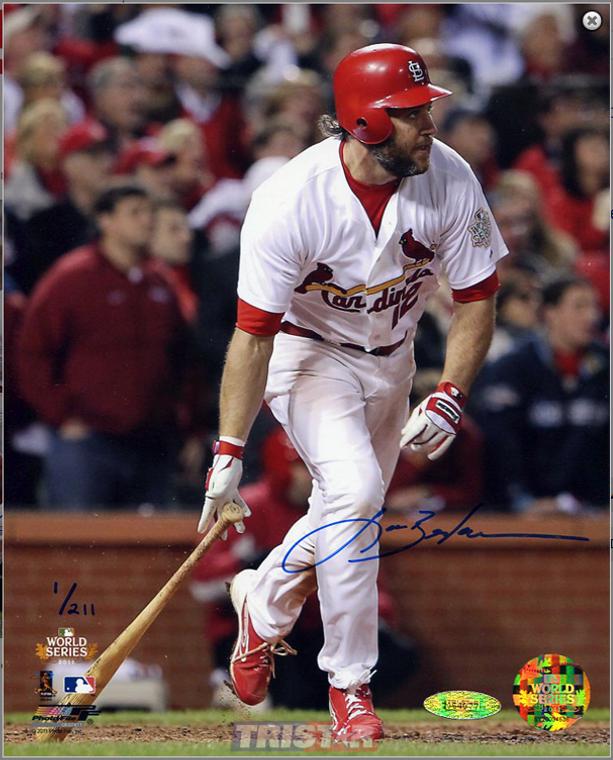 Lance Berkman Autographed 8x10 Photo - St. Louis Cardinals 2011 WS Game 6 Game tying single