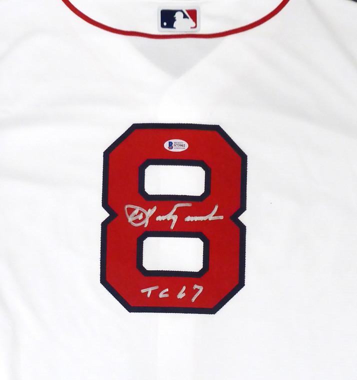 Carl Yastrzemski Autographed Jersey - Boston Red Sox White Majestic Cool Base TC 67 Size XL Beckett BAS