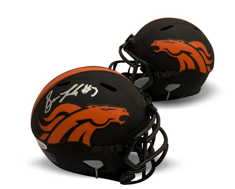 Drew Lock Autographed Mini Helmet - Denver Broncos Black Eclipse JSA COA