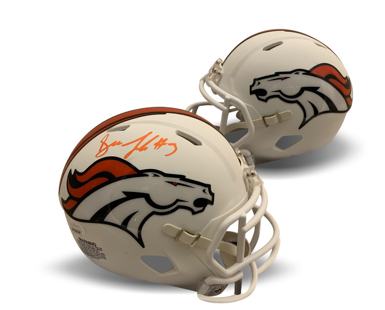 Drew Lock Autographed Mini Helmet - Denver Broncos White Matte JSA COA