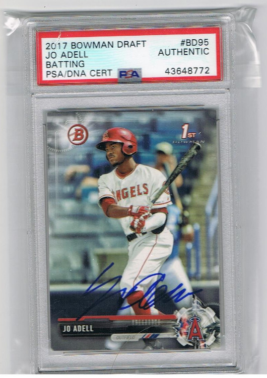 Jo Adell Autographed Baseball Card - Los Angeles Angels 2017 1st Bowman Draft Rookie Card PSA DNA COA BDC-95