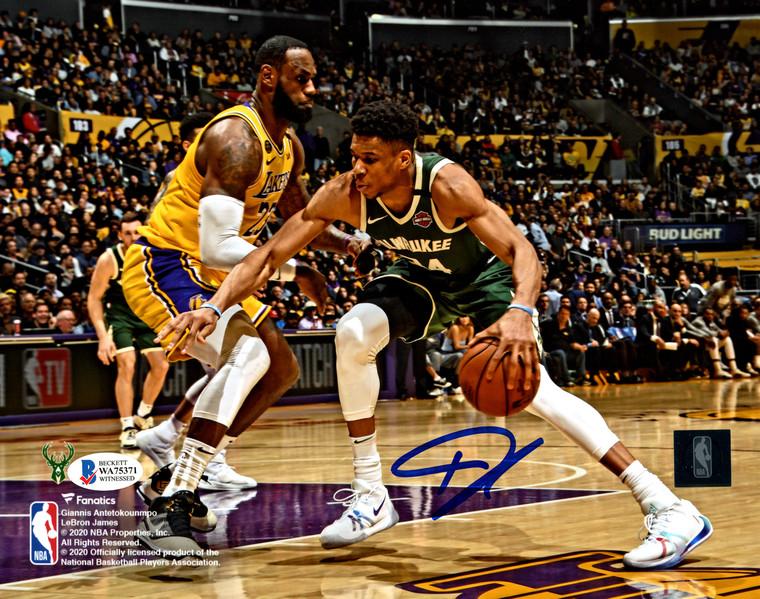 Giannis Antetokounmpo Autographed 8x10 Photo - Milwaukee Bucks  Fanatics   With LeBron James Beckett BAS