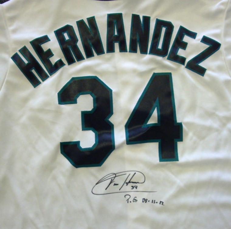Felix Hernandez Autographed Jersey - Seattle Mariners White Majestic  PG 8-15-12 Size XL PSA/DNA