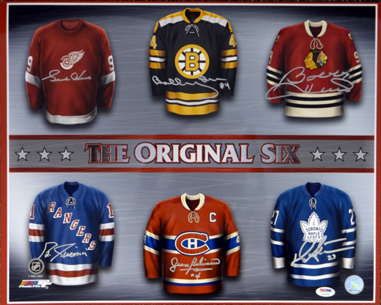 NHL Hall of Famers The Original Six Autographed 16x20 Photo - Photofile With 6 Signatures Including Gordie Howe, Bobby Hull & Bobby Orr PSA/DNA Letter