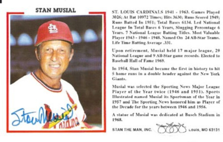 Stan Musial Autographed Misc-Stat Card - St. Louis Cardinals JSA Stamp of Approval