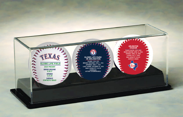 Texas Rangers Globe Life Field First Season 3-Ball Set with Display Case