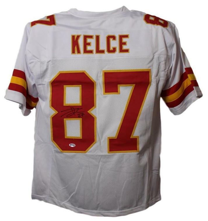 Travis Kelce Kansas City Chiefs Autographed Signed White Jersey BAS XL