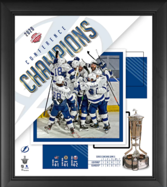 Tampa Bay Lightning 2020 Eastern Conference Champions Collage Authentic Framed 15 x 17