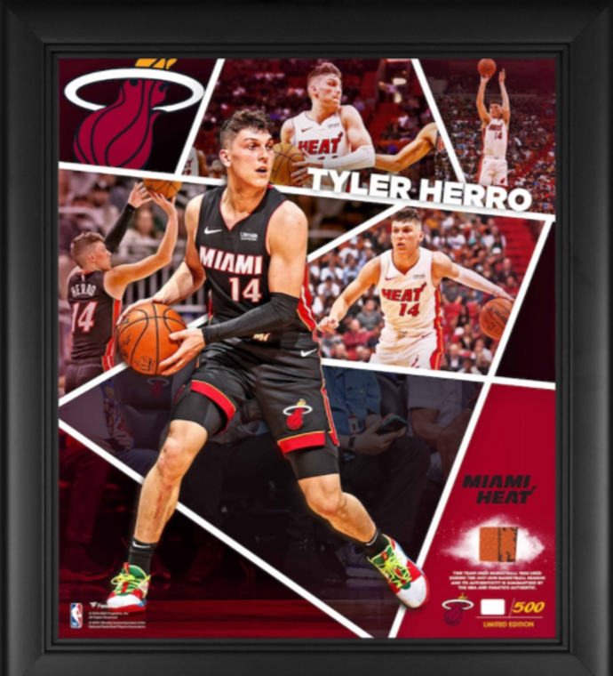 Tyler Herro Miami Heat Authentic Framed Impact Player Collage with a Piece of Team-Used Basketball 15 x 17 - Limited Edition