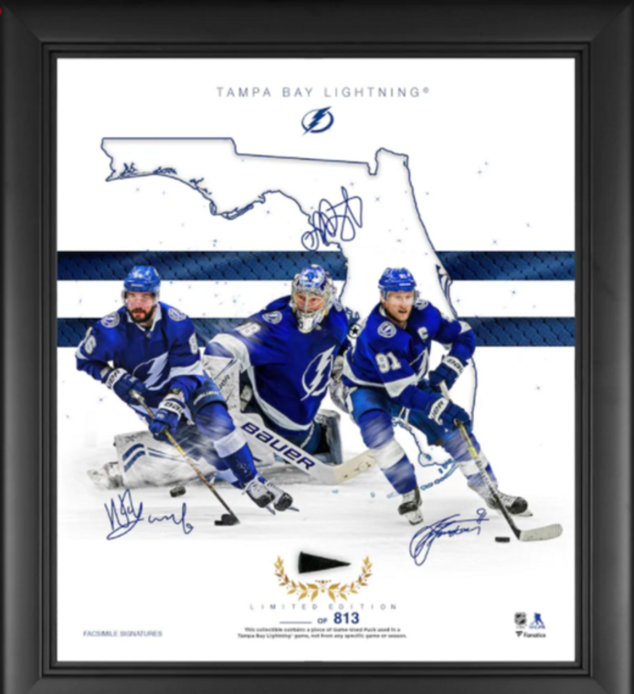 Tampa Bay Lightning Authentic Framed Franchise Foundations Collage with Game Used Puck 15 x 17 - Limited Edition