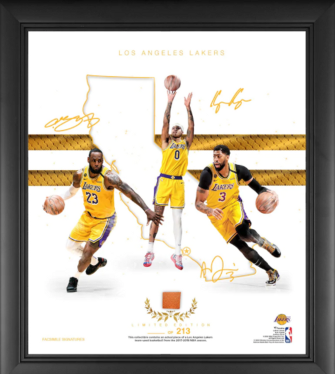 """Los Angeles Lakers Authentic Framed Franchise Foundations Collage with a Piece of Game Used Basketball 15"""" x 17"""" - Limited Edition"""