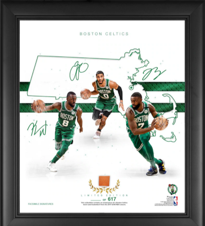 Boston Celtics Authentic Framed Franchise Foundations Collage with a Piece of Game Used Basketball 15 x 17 - Limited Edition
