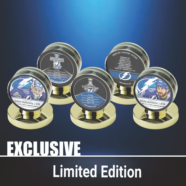Tampa Bay Lightning Stanley Cup Champs 2020 Limited Edition 5 Puck Set with Display Cases