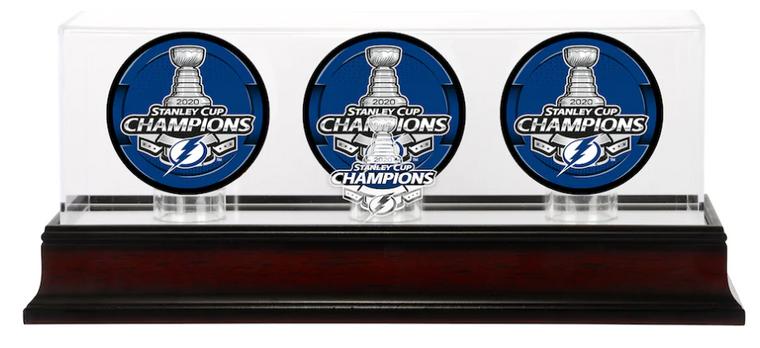 Tampa Bay Lightning 2020 Stanley Cup Champions Mahogany Three Hockey Puck Logo Display Case