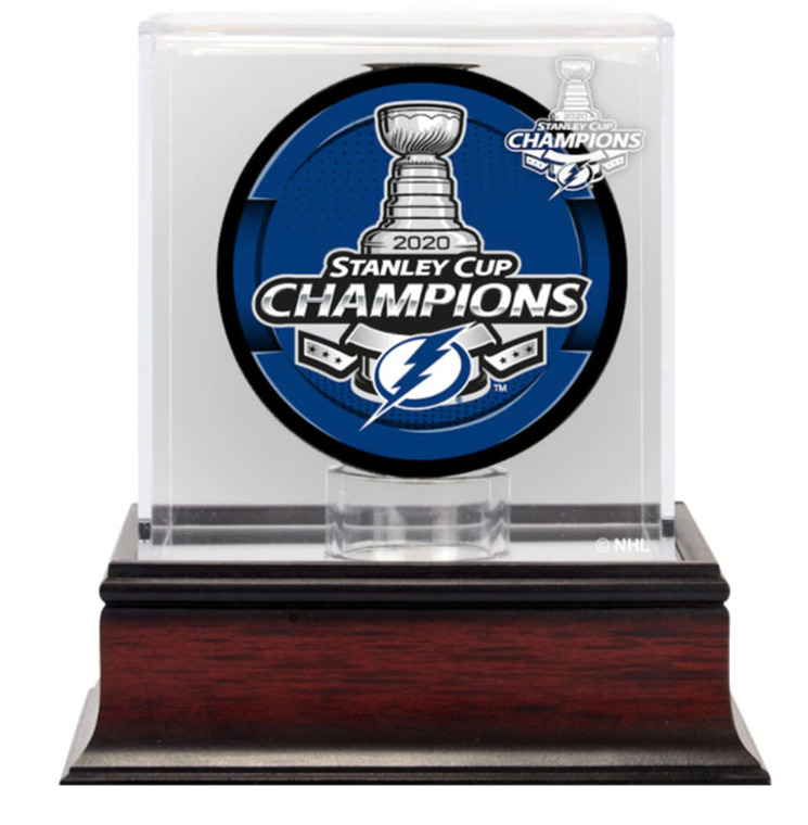 Tampa Bay Lightning 2020 Stanley Cup Champions Mahogany Hockey Puck Logo Display Case