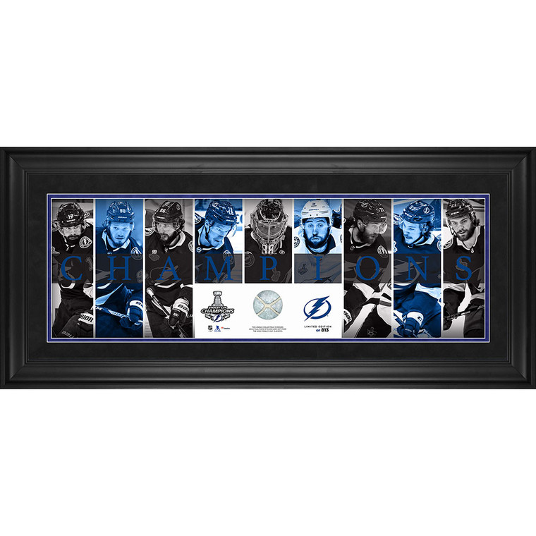 Tampa Bay Lightning Framed 2020 Stanley Cup Champions Panoramic with a Piece of Game-Used Net from the 2020 Stanley Cup Playoffs - Limited Edition 10 x 30