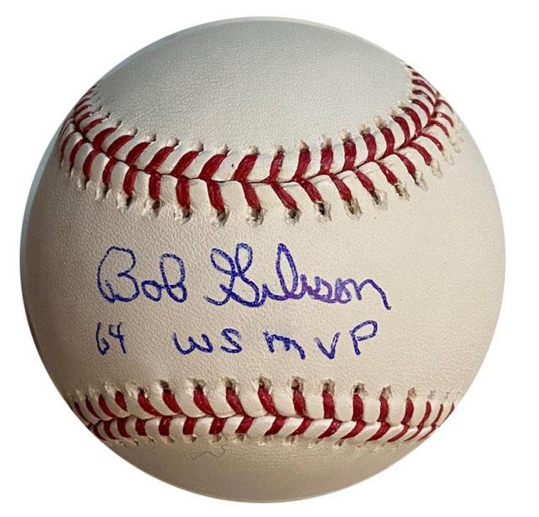 "Bob Gibson ""64 World Series MVP Autographed Baseball - St. Louis Cardinals Official MLB"