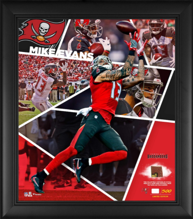 "Mike Evans Tampa Bay Buccaneers Framed 15"" x 17"" Impact Player Collage with a Piece of Game-Used Football - Limited Edition"