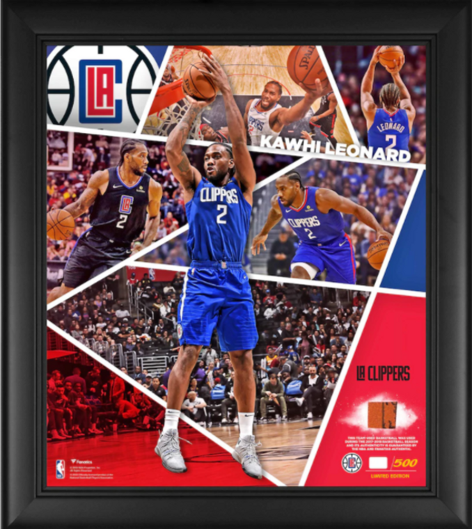 """Kawhi Leonard LA Clippers Framed 15"""" x 17"""" Impact Player Collage with a Piece of Team-Used Basketball - Limited Edition"""