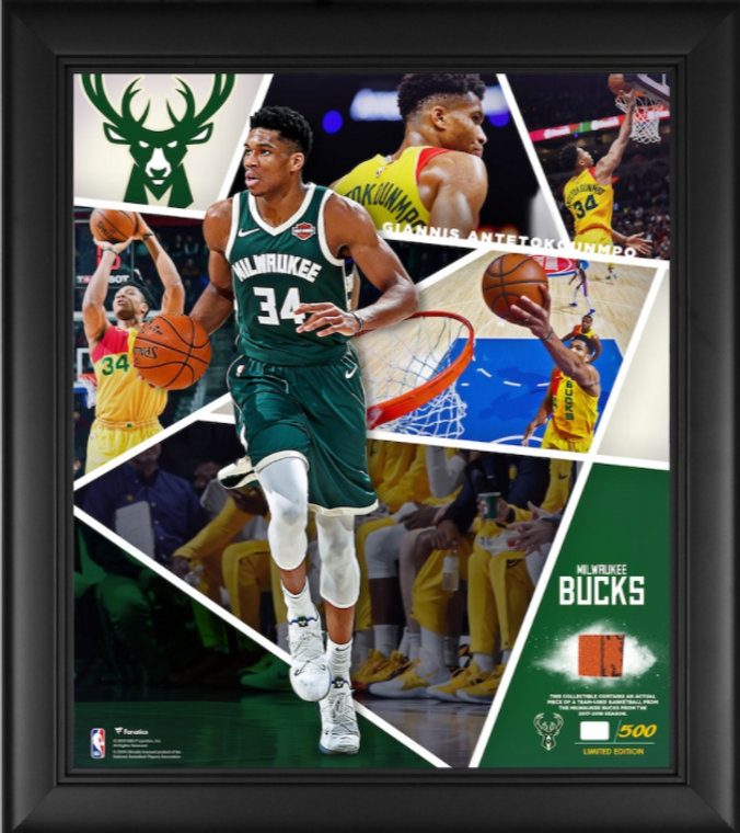 "Giannis Antetokounmpo Milwaukee Bucks Framed 15"" x 17"" Impact Player Collage with a Piece of Team-Used Basketball - Limited Edition"
