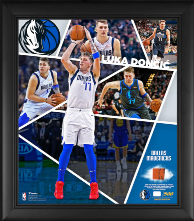 """Luka Doncic Dallas Mavericks Framed 15"""" x 17"""" Impact Player Collage with a Piece of Team-Used Basketball - Limited Edition"""