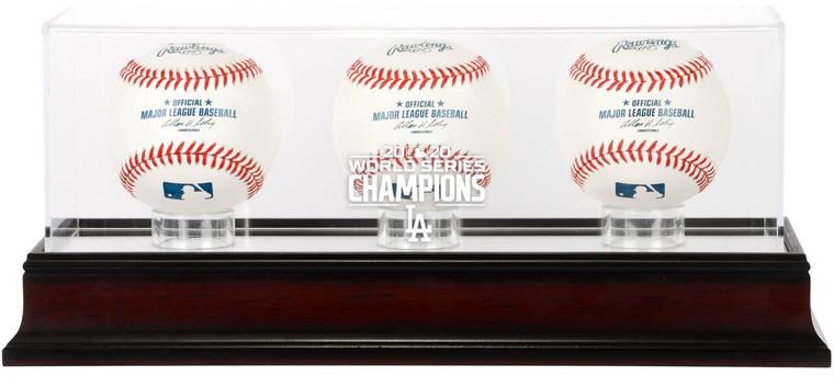 LA Dodgers Authentic 2020 World Series Champions Mahogany Logo 3-Baseball Display Case