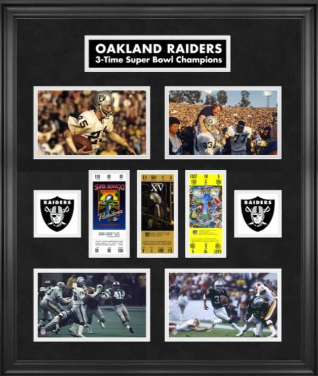 Las Vegas Raiders Framed Super Bowl Replica Ticket and Photograph Collage Limited Edition