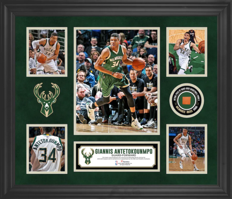 Giannis Antetokounmpo Officially Licensed Milwaukee Bucks Framed 5-Photo Collage with a Piece of Team-Used Basketball