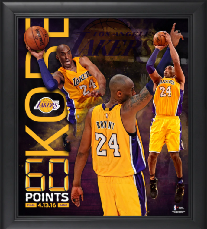Kobe Bryant Officially Licensed Los Angeles Lakers Framed 60 Point Finale Collage 15 x 17