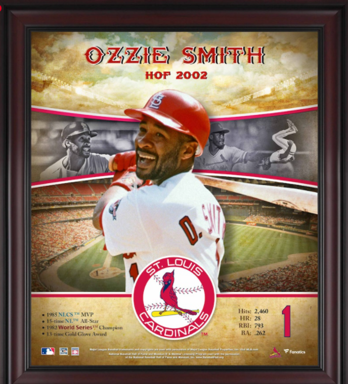 Ozzie Smith St. Louis Cardinals Framed Hall of Fame Career Profile 15 X 17