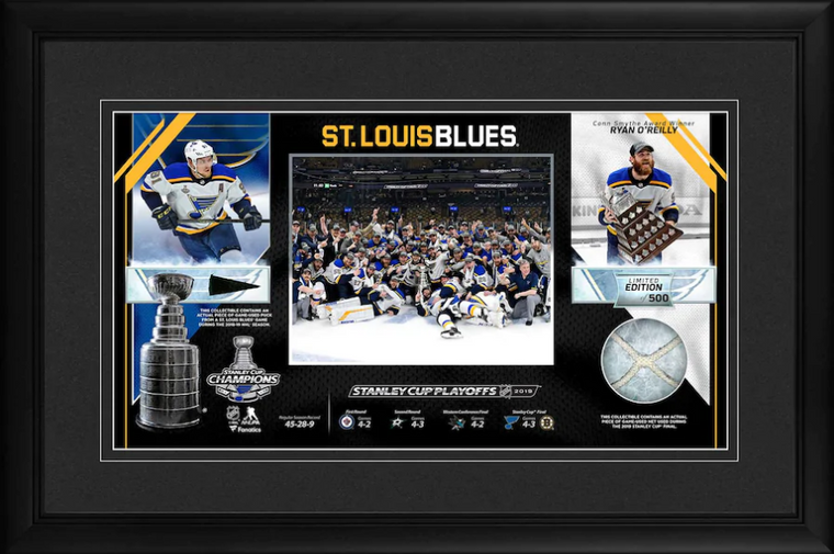 St. Louis Blues Framed 2019 Stanley Cup Champions Collage Third Edition with a Piece of Game-Used Puck & Net - Limited Edition 10 x 18
