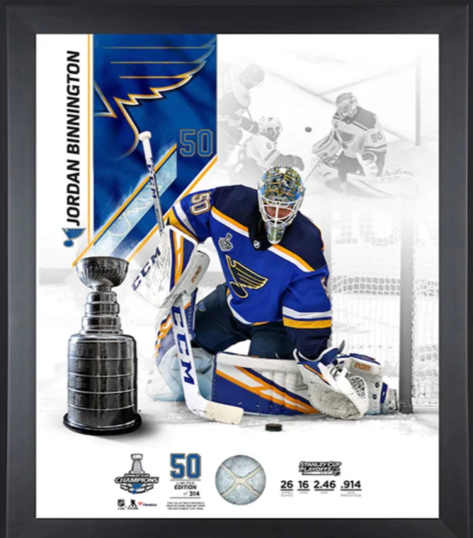 Jordan Binnington St. Louis Blues 2019 Stanley Cup Champions Framed Photograph with a Piece of Game-Used Net from the Stanley Cup Final - Limited Edition 20 x 24