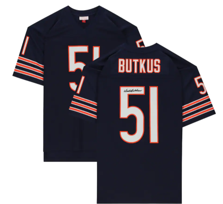 Dick Butkus Chicago Bears Signed Mitchell & Ness Navy Replica Jersey