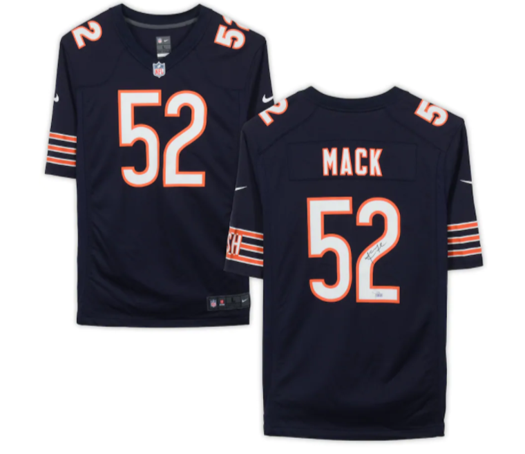 Khalil Mack Chicago Bears Signed Nike Navy Game Jersey 52