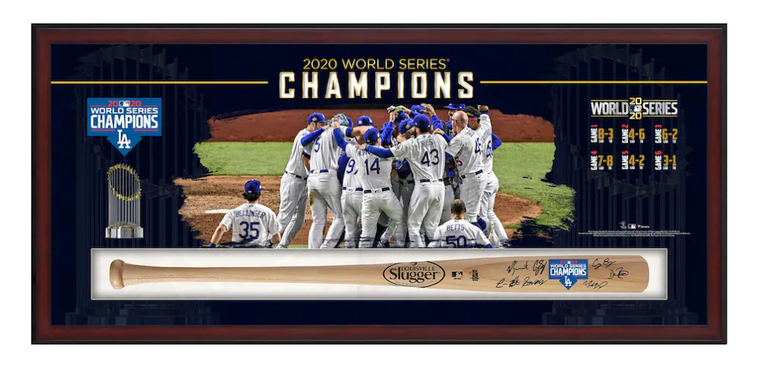 LA Dodgers Framed Autographed 2020 MLB World Series Champions Louisville Slugger Logo Bat Collage Shadowbox with at least 6 Signatures - Limited Edition