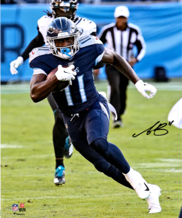 A.J. Brown Tennessee Titans Signed Hurdle Photograph 16 x 20