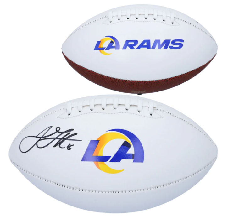 Jared Goff Los Angeles Rams Signed Jarden 2020 Logo White Panel Football