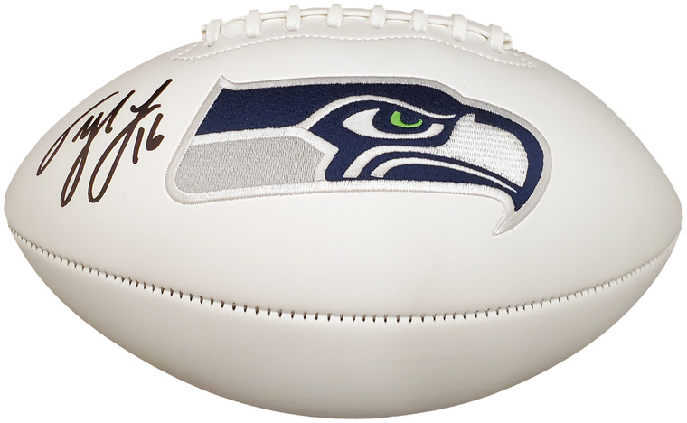 Tyler Lockett Signed Seattle Seahawks White Logo Football