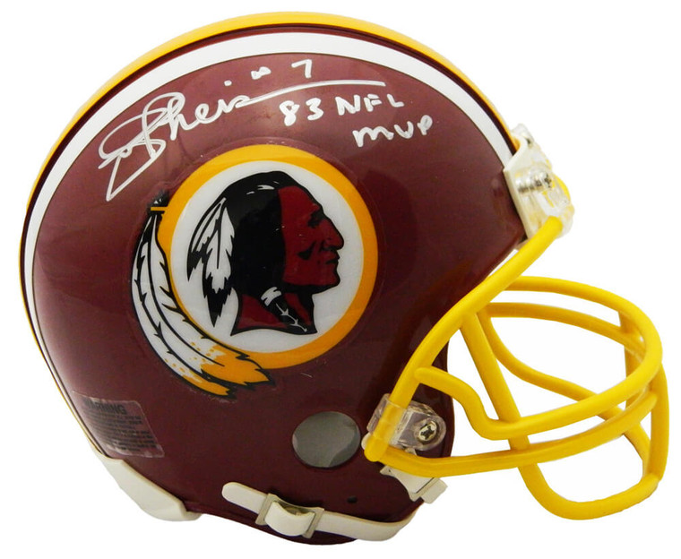 Joe Theismann Autographed Washington Redskins 1982 Style Throwback Riddell Mini Helmet w/83 MVP