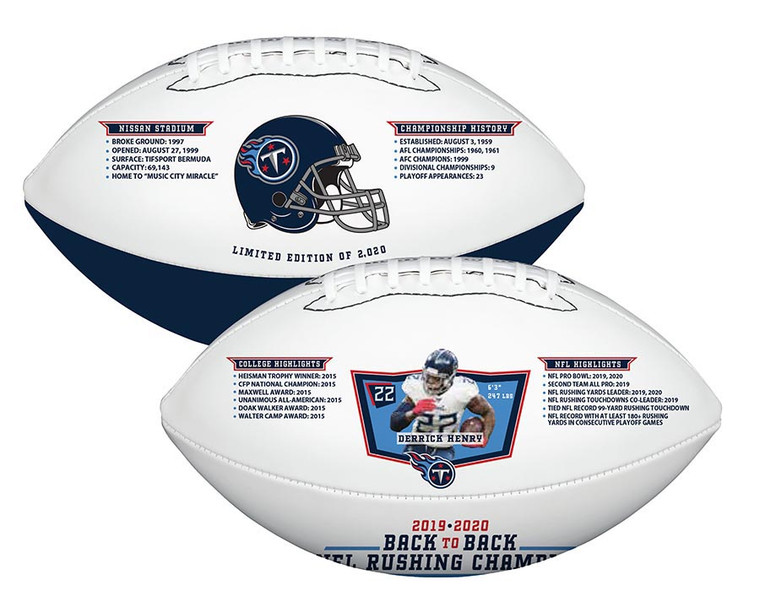 Derrick Henry Tennessee Titans Record Breaking 2020 Exclusive Limited Edition Football
