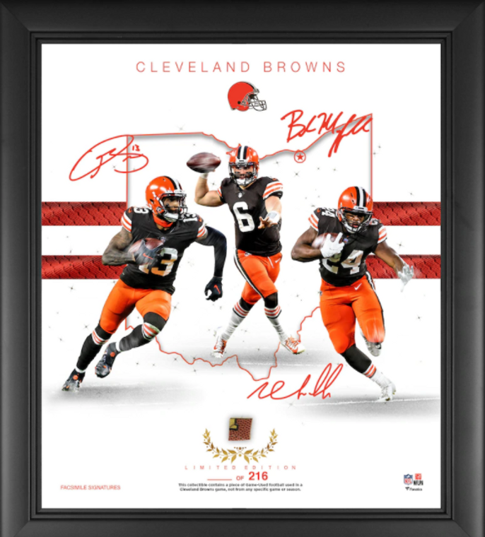 """Cleveland Browns Framed 15"""" x 17"""" Franchise Foundations Collage with a Piece of Game Used Football - Limited Edition"""