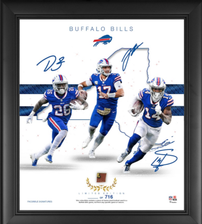 """Buffalo Bills Framed 15"""" x 17"""" Franchise Foundations Collage with a Piece of Game Used Football - Limited Edition"""