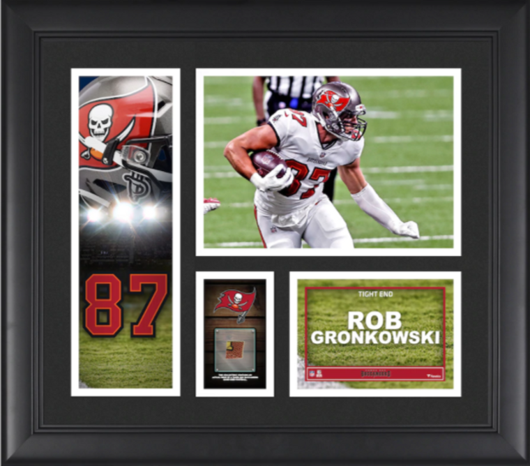 Rob Gronkowski Tampa Bay Buccaneers Framed Player Collage with a Piece of Game-Used