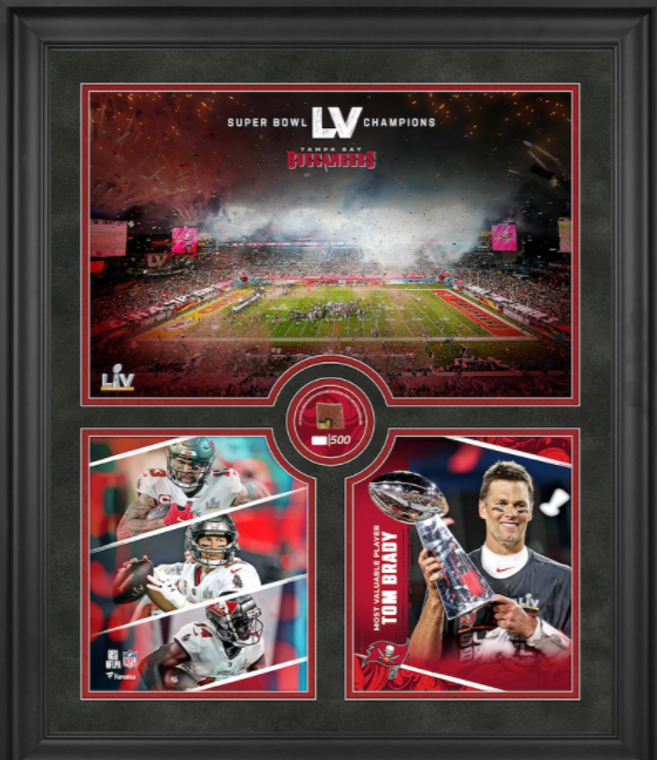 Tampa Bay Bucs Framed SB LV Champions Collage with a Piece of Game-Used Football - Limited Edition