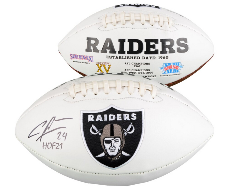 "Charles Woodson Oakland Raiders Signed White Panel Football with ""HOF 21"" Inscription"
