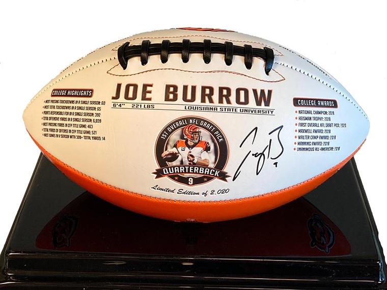 Joe Burrow Autographed Cincinnati Bengals Limited Edition Embossed Football 2020