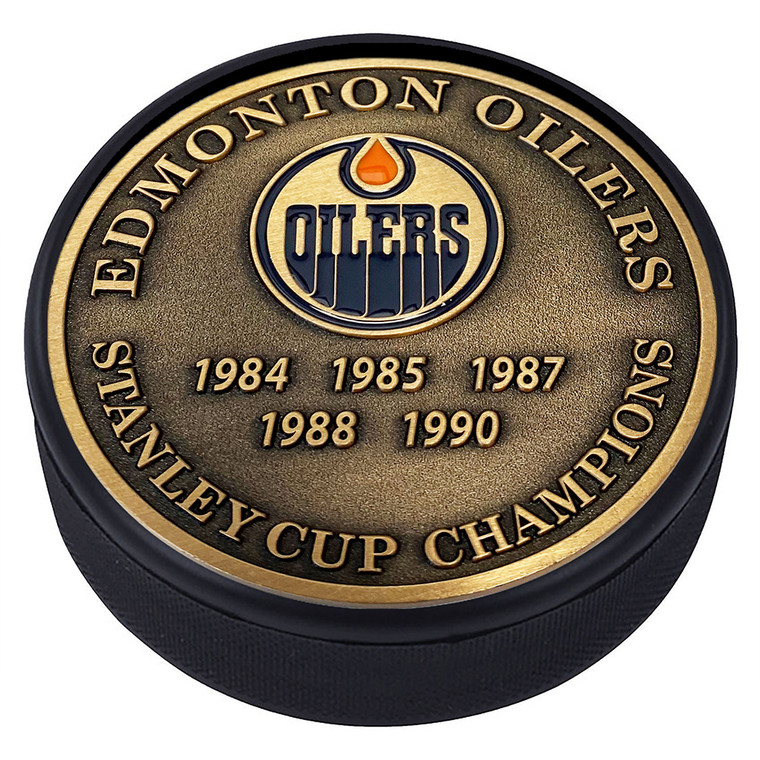 Edmonton Oilers Stanley Cups Gold Medallion Puck