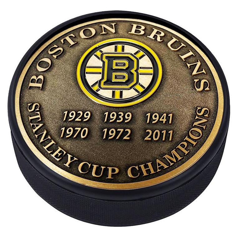 Boston Bruins Stanley Cups Gold Medallion Puck