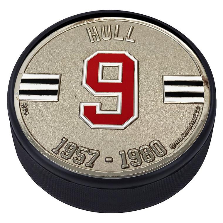 Bobby Hull Chicago Blackhawks 9 Silver Medallion Puck