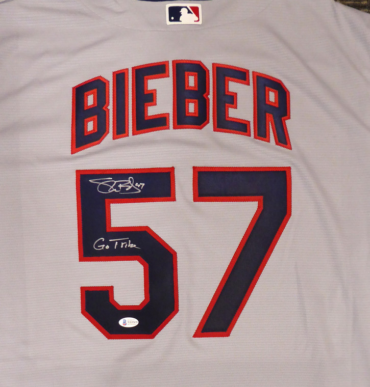 """Shane Bieber Cleveland Indians Signed Gray Nike Jersey Size XL """"Go Tribe"""""""